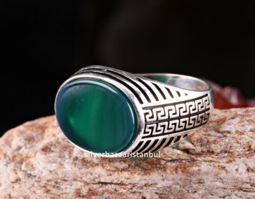 Special Green Agate Stone Turkish 925 Sterling Silver mens ring ALL SİZE us 0015