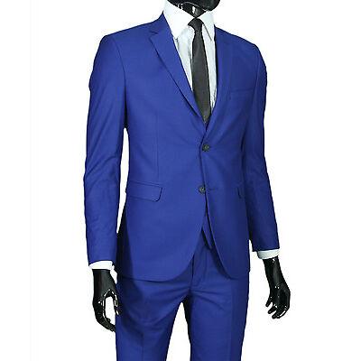 Slim Fit Herrenanzug in Blau mit Weste -Anzug-Hochzeit-Bühne-Sakko