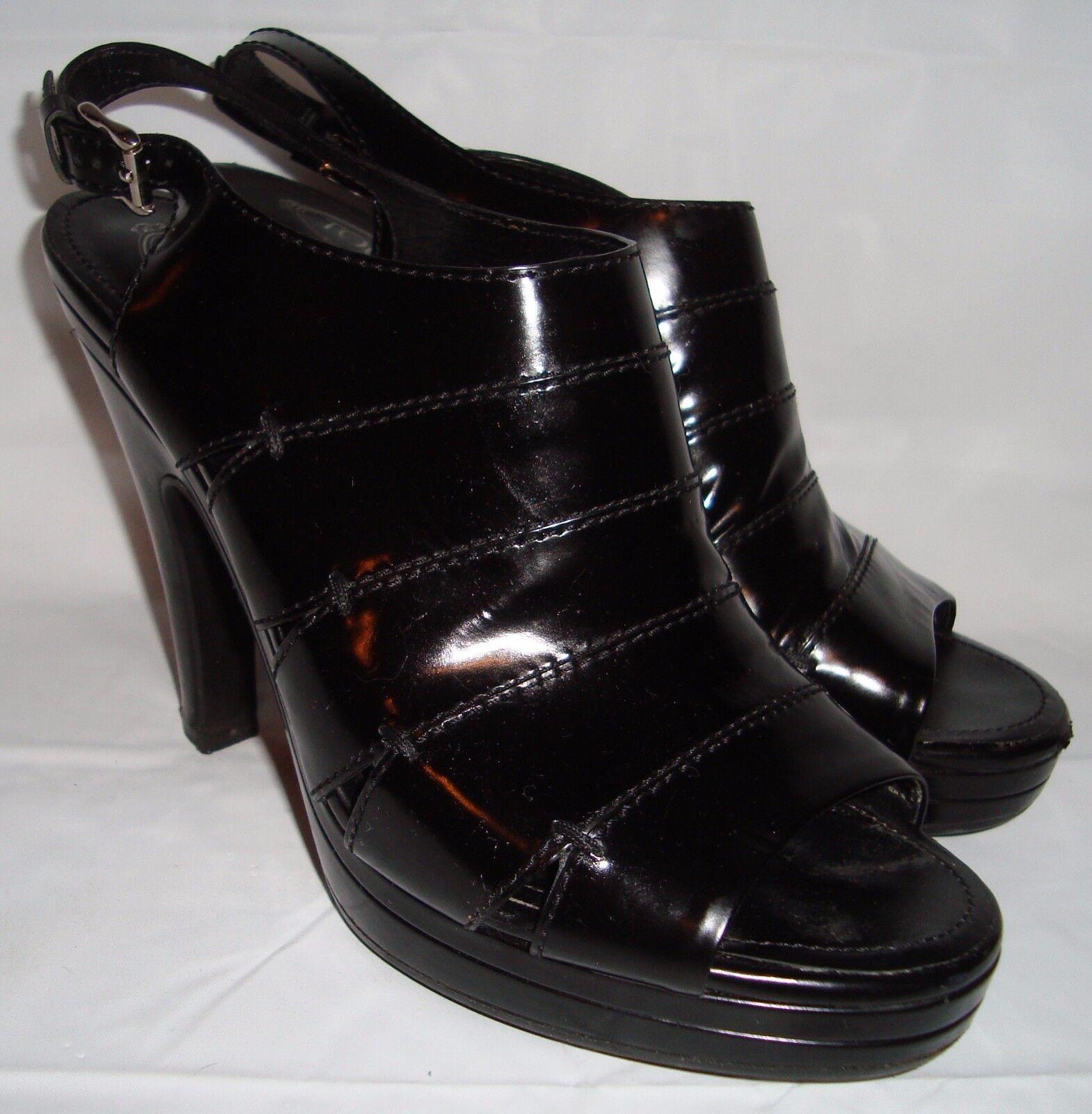 migliore vendita Tods nero Leather Open Open Open Toed Strappy Ankle scarpe 40 9 Slingback Pumps  acquista online oggi