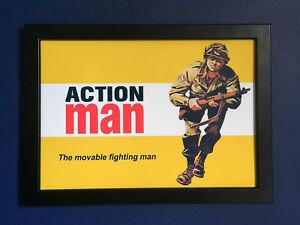 Action-Man-Vintage-Decada-de-1960-Poster-enmarcado-tamano-A4-Tienda-Letrero-ANUNCIO-FOLLETO