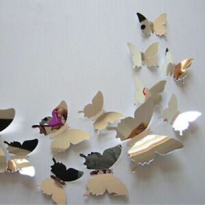 10pc Arrive Mirror Sliver 3D Butterfly Wall Stickers Party Wedding