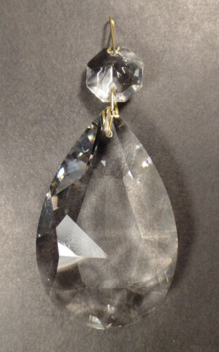 """Clear Glass Crystal Pendalogue Prism w// Brass Pins Chandelier Lamp 2 1//2/"""" 63mm"""