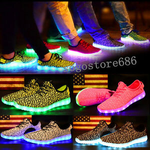 Details About Unisex Boys Girls Led Light Up Luminous Shoes Young Man Usb Party School Shoes