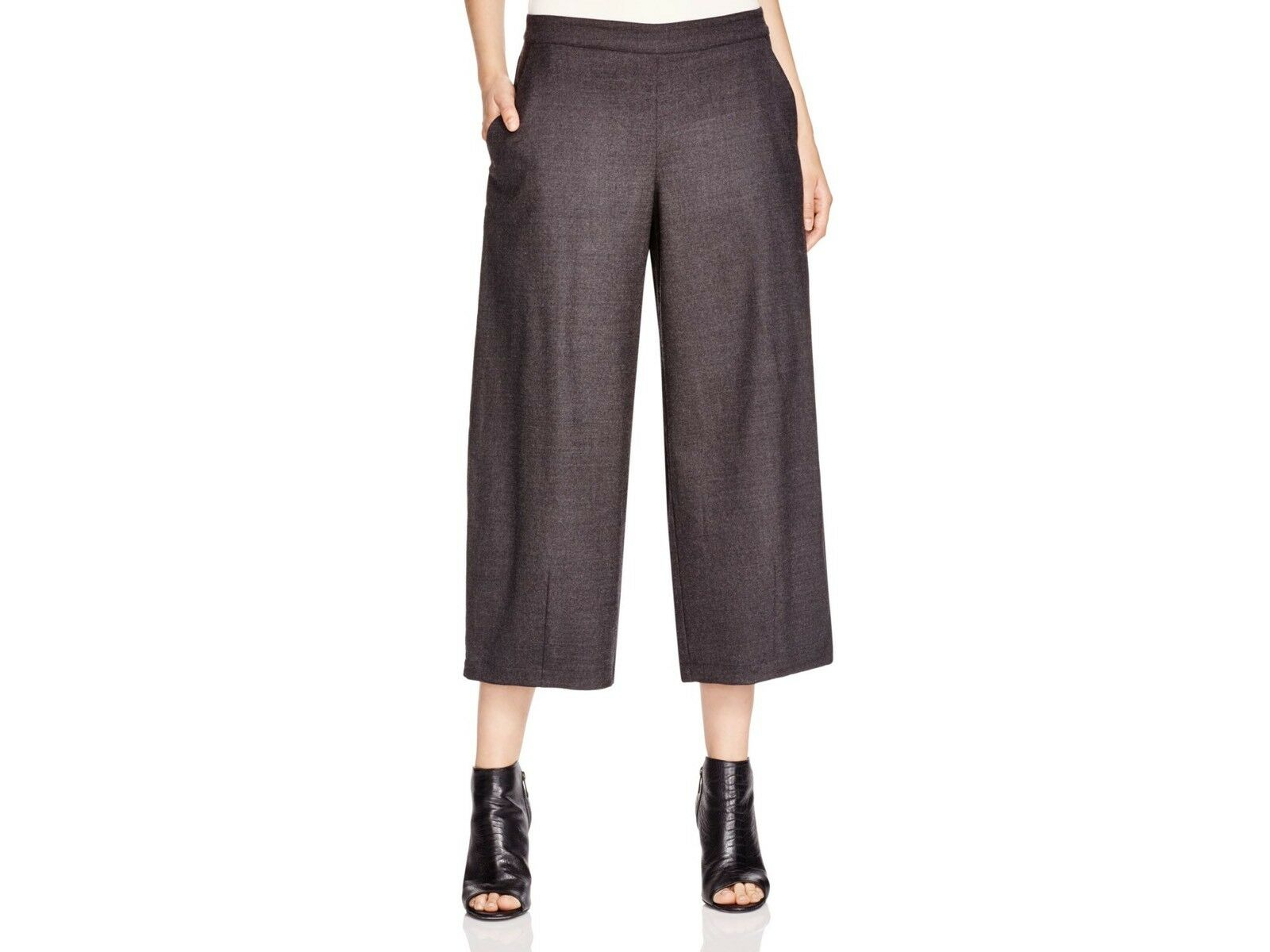 New Eileen Fisher Charcoal Wide Leg Cropped Lantern Pants Size Medium MSRP  238