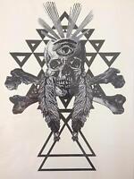 Skull Temporary Tattoo Black Stickers Body Art Waterproof Cross Triangle Eye