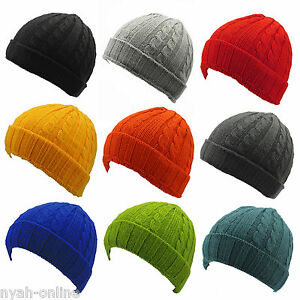 7630b3a8edd NEW  PLAIN  BEANIE HAT KNITTED WINTER WOOLY CAP WARM FITTED WOOLLY ...