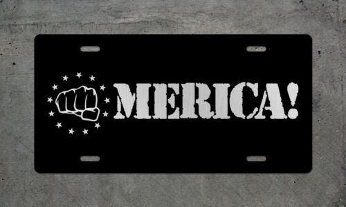 America Fist License Plate USA Patriotic DTOM Tag Wall Sign Military Army Badge