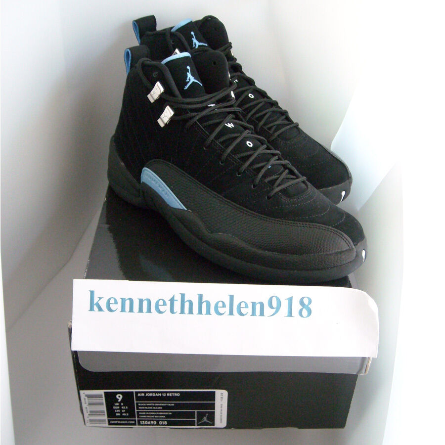 Neu 2009 Nike Air Jordan - XII 12 Retro Nubukleder black University blue