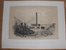 Choisy-Le-Roi Teerfabrik LITHOGRAPHIE von 1871 Deutsch-Französischer-Krieg