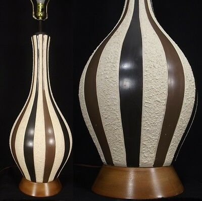 Retro Table Lamp 40 3 4 Tall Ceramic Walnut 1950 S Mcm Mid Century Modern Ebay