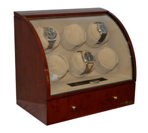 Pangaea-Q600-6-Watch-Winder-Storage-Box-with-Drawer-Burlwood-for-Six-Watches