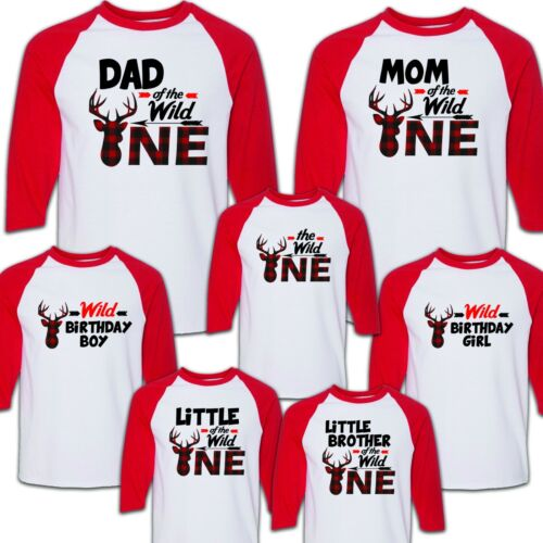 celebration Party Wild One Birthday Raglan Tee Shirt 3//4 Family Matching
