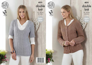 37c52881655c King Cole Womens Double Knitting Pattern Raglan Sleeve Top Cardigan ...