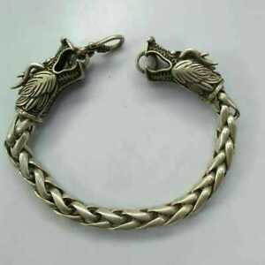 China-Old-national-style-Tibet-Silver-Carve-Pair-dragon-head-chain-Bracelet