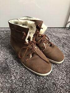 Details Leder Fell Gefüttert Hochwertige Stiefel Zustand Warm Boots Zu Top Hub 40 Braun mN08yvPnwO