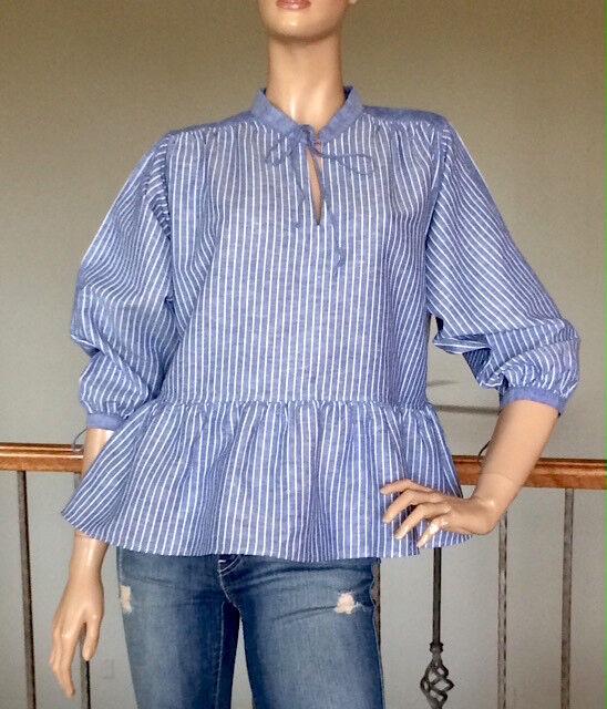 b31ab794b62 Uniqlo JW Anderson Women Blue Linen Cotton Striped 3 4 Sleeve Blouse Size M for  sale online