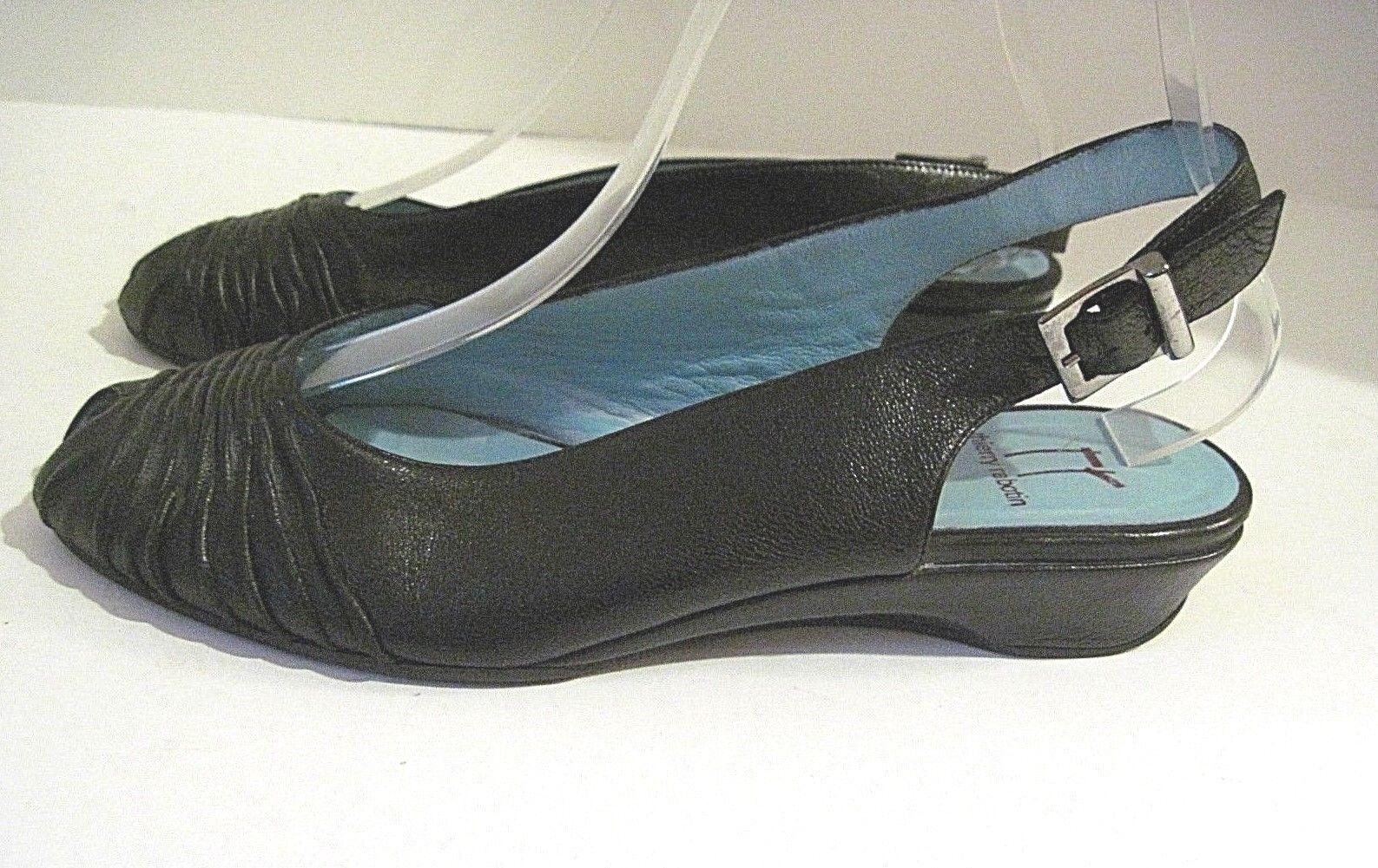 risparmia fino al 30-50% di sconto THIERRY RABOTIN donna nero Leather Peep Peep Peep Toe Slingback Wedge scarpe Dimensione 37  in vendita scontato del 70%