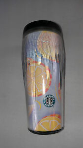Starbucks Coffee Tumbler Mug 2002 Oranges Cup 16oz Icicles Frozen Design Barista
