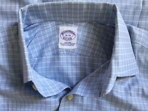 Brooks-Brothers-1818-Men-039-s-Button-Down-L-S-Non-Iron-Blue-Check-Shirt-Sz-15-33