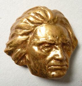Grosse Broche En Métal Doré Portrait De Beethoven Bijou