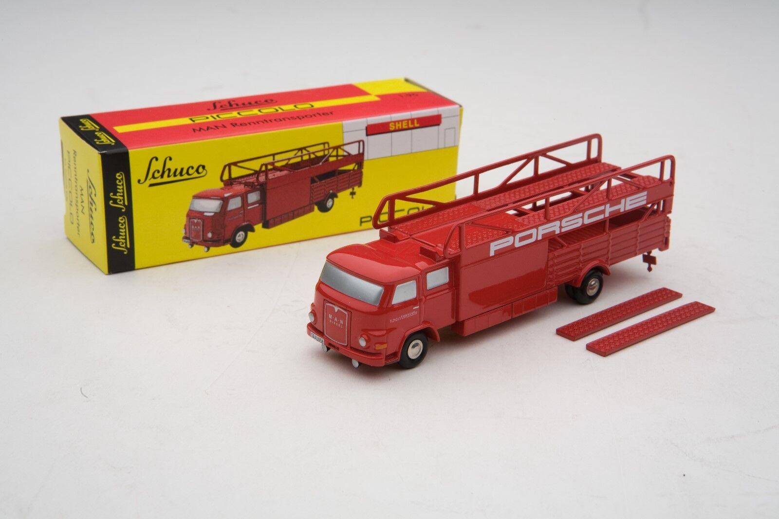 Schuco piccolo   m.a.n. porsche - rennwagen transporter   posten   shu05895