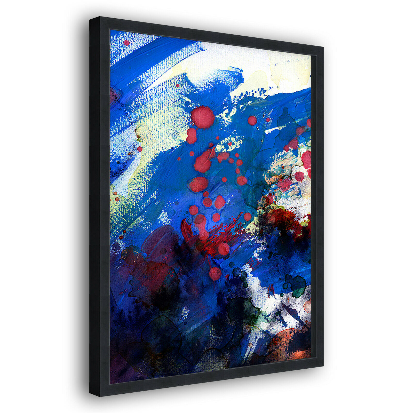 Blau rot Gelb Modern Portrait Abstract Framed Wall Art Large Picture Prints