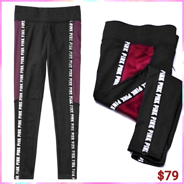 PINK VICTORIA/'S SECRET BLACK GRAY SILVER LOGO COZY FLEECE LINED YOGA LEGGING VS