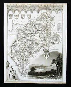 c-1850-Thomas-Moule-Map-Cumberland-County-Carlisle-Mayport-Keswick-England-UK