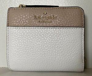 New-Kate-Spade-Jackson-small-L-zip-Bifold-wallet-Leather-Optic-White-multi