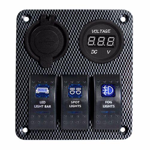 3 GANG Carbon Fiber PANEL BREAKER Only LED Waterproof ROCKER SWITCH Car SUV Boat