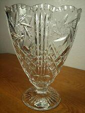 Vintage Pinwheel Star Cut Crystal Fan Vase Made In West Germany