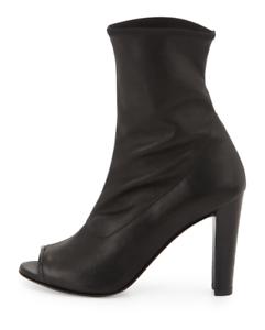 stuart weitzman Koko Leather Open Toe Bootie Black Nero Plunge Leather Size 36.5