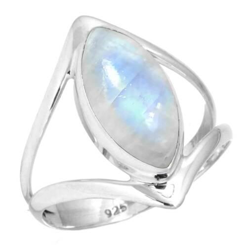 925 Sterling Silver Ring Natural Rainbow Moonstone Handmade Jewelry 11 eg20703