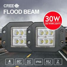 """PAIR 30W 4 inch CREE Flush Mount LED Work Lights FLOOD 12V 24V Reverse Truck 5"""""""
