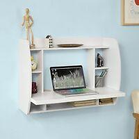 Wall Mounted Table Pc Computer White Desk Study Writing Shelf Storage Small Desk