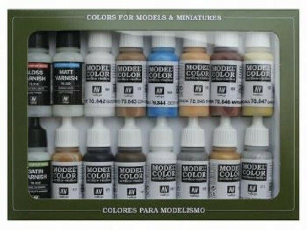 VAL70146 Model color Set - Nava, (Steam Era) VALLEJO 16 colour paint set