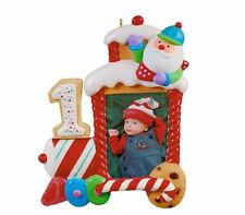 2012 Hallmark MY FIRST CHRISTMAS Ornament BABY 1st TRAIN Photo Holder Locomotive