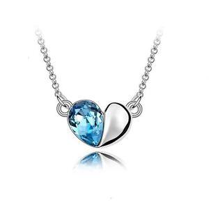 Sky Blue Designer Love Heart Crystal Silver Jewellery Necklace Present Gift Uk 5056013607151 Ebay