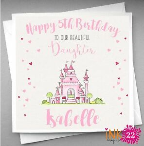 Image Is Loading Personalised Handmade Girls Birthday Card 039 Princess Castle