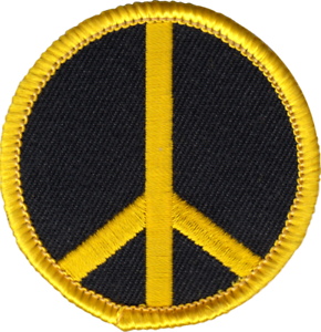 "22190 Peace Sign Symbol Black Yellow Hippie Hippy Sixties 60/'s 2/"" Iron On Patch"