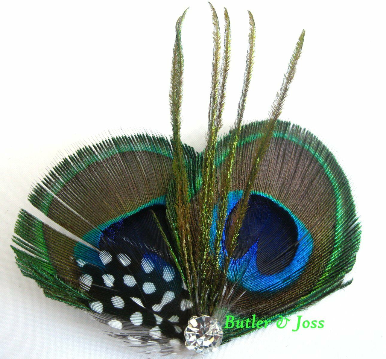 Peacock Diamante Feather Hair Clip Prom Wedding Bridal Fascinator 'Holly'