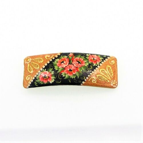 Barrettes cheveux coloré fleurs bois peint main artisanat russe Hairpin hair