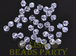 New-100pcs-4mm-Bicone-Faceted-Crystal-Glass-Loose-Spacer-Beads-Bulk-Clear