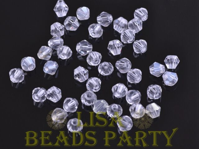 New 100pcs 4mm Bicone Faceted Crystal Glass Loose Spacer Beads Bulk Clear