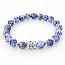 Handmade Beaded Stone Bracelet, Lapis Lazuli Beads Silver Buddha Blue White