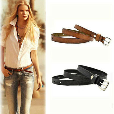 Belt Genuine Leather Designer Print Retro Women Thin Belt Cowhide Metal Buckle