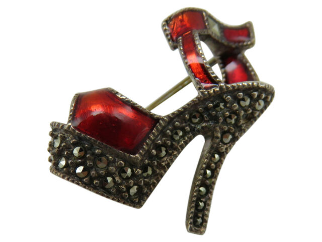Judith Jack Sterling Silver Brooch Pin Red Enamel Marcasite High Heel Shoe 537g