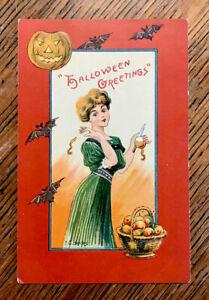 Halloween-LADY-Apples-Bats-JOL-Signed-BANKS-Antique-Vintage-EMBOSSED-Postcard