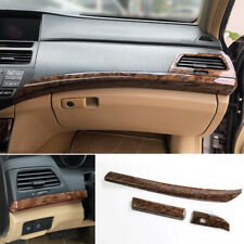 For Honda Accord 2008 2013 Wood Grain Central Console Instrument Strip Trim 3pcs