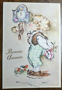 Vintage-French-New-Year-Greetings-Postcard-Mistletoe-Gift-Child-Glitter-Holly